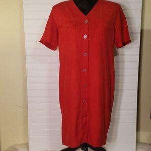 Vintage Victoria Soie Petite 100% Red Silk Dress